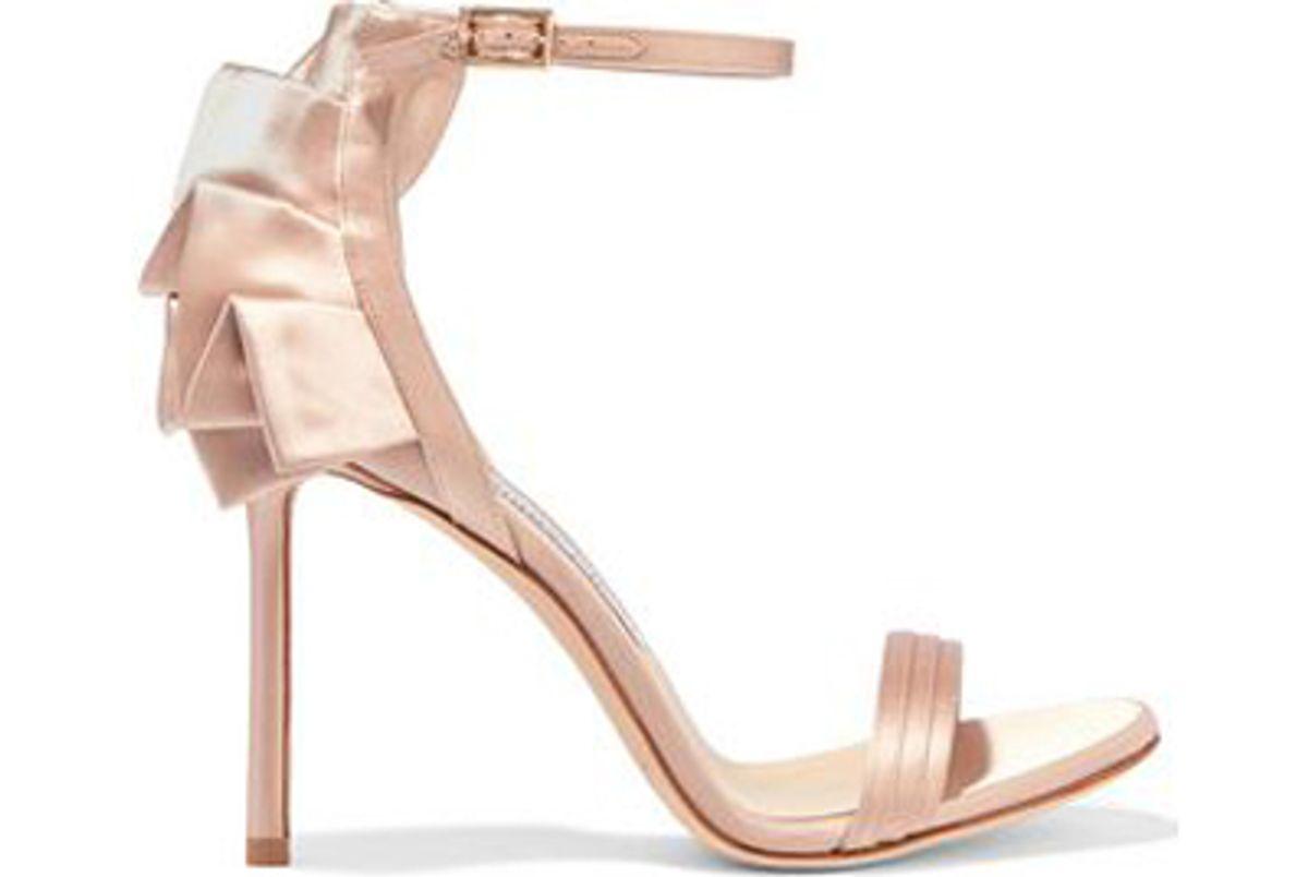 jimmy choo kerry 100 ruffled satin sandals