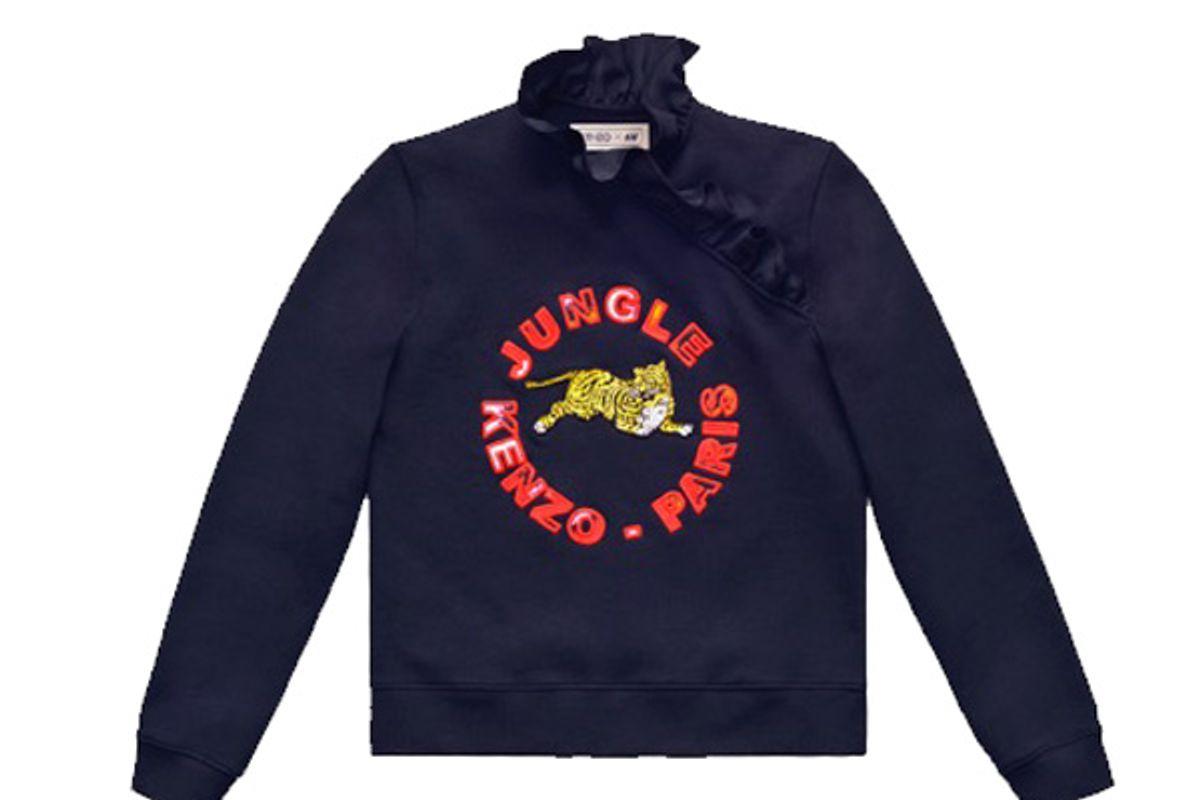 Sweatshirt With Ruffle Collar in Black