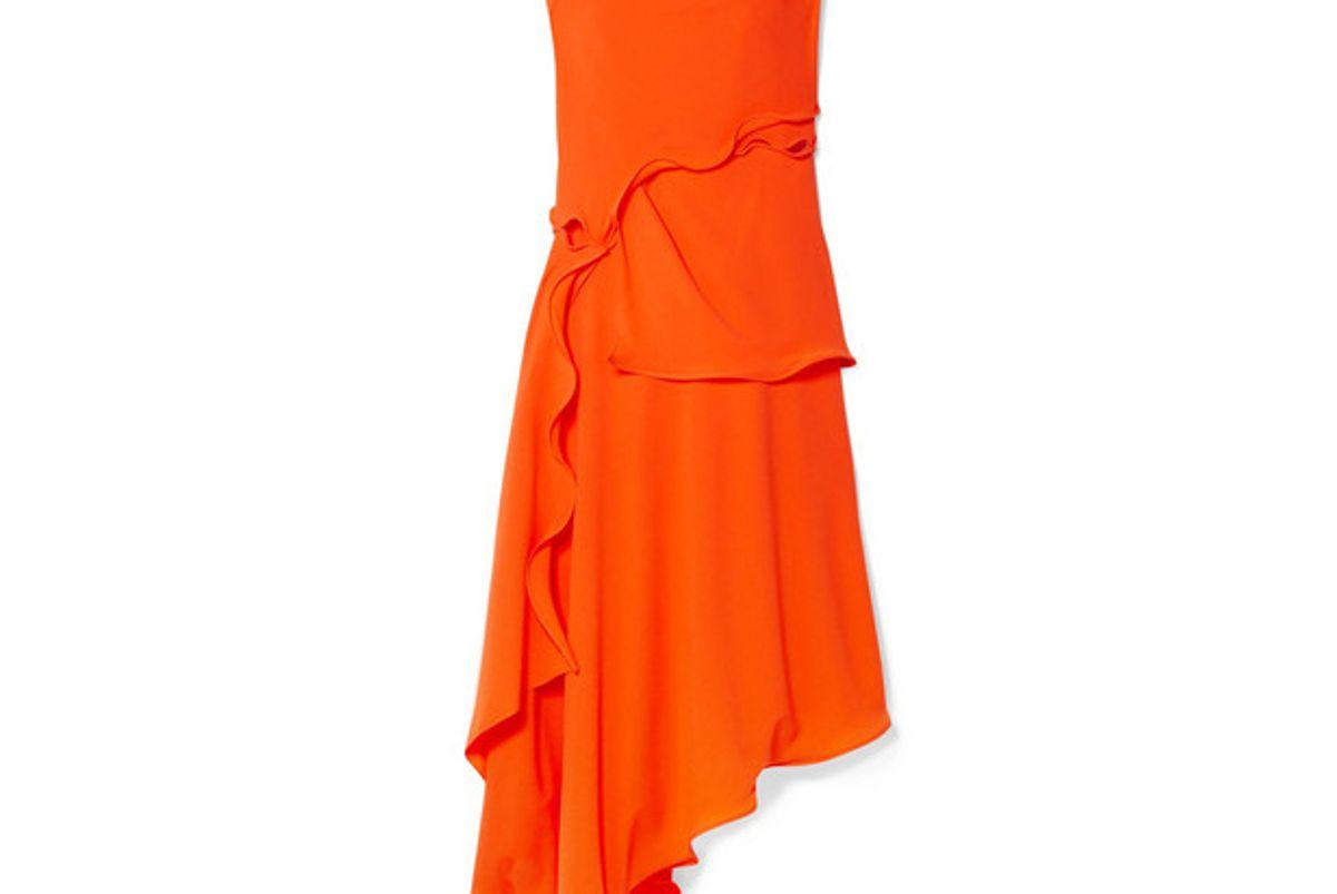 sies marjan helena asymmetric ruffled stretch crepe dress