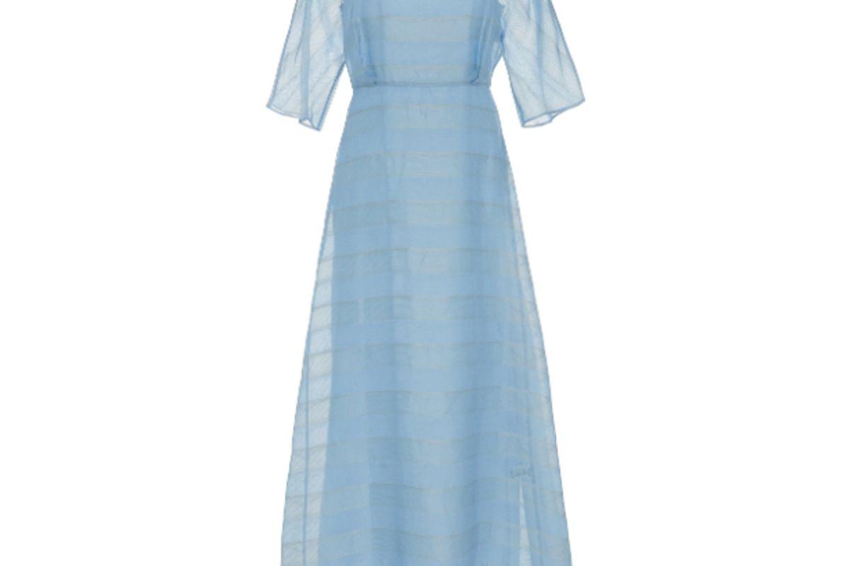 mansur gavriel striped silk voile midi dress