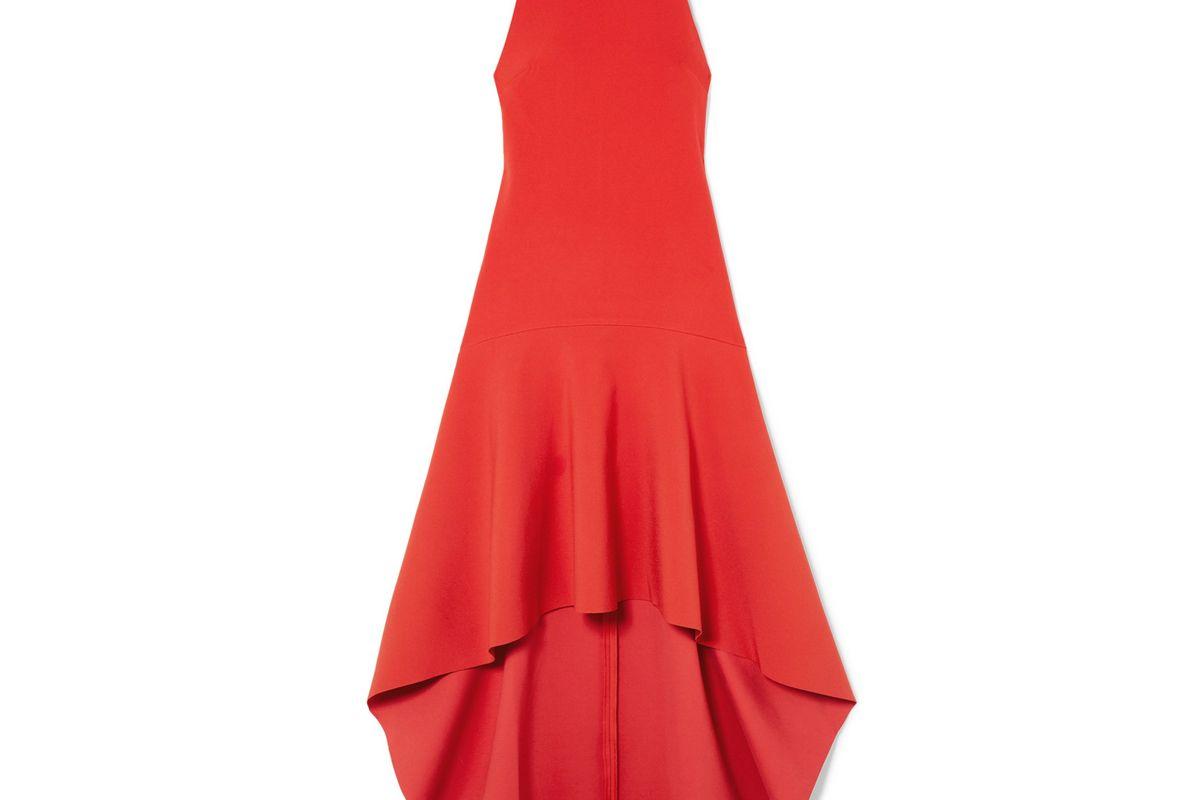 solace london bahar asymmetric ruffled crepe midi dress