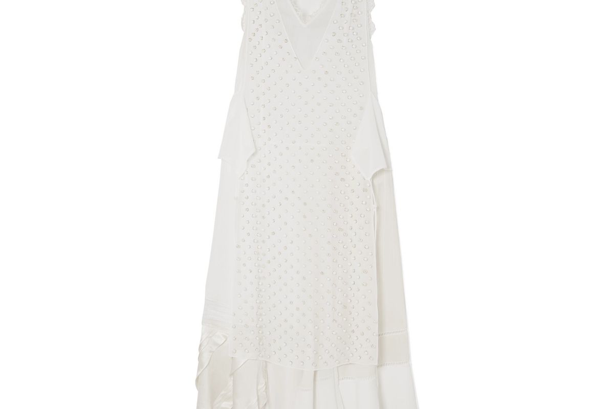 loewe lace trimmed embellished georgette and silk crepe de chine maxi dress