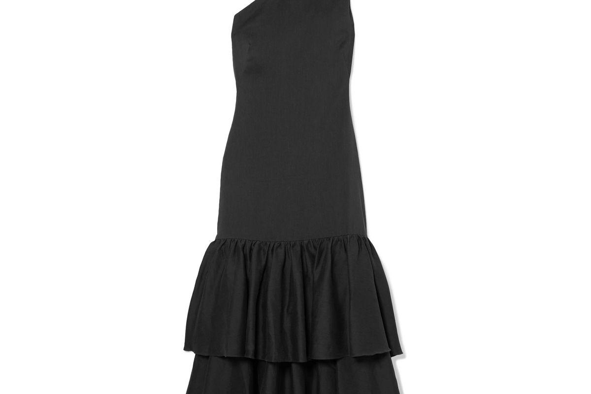 rejina pyo lizzie asymmetric tiered woven midi dress
