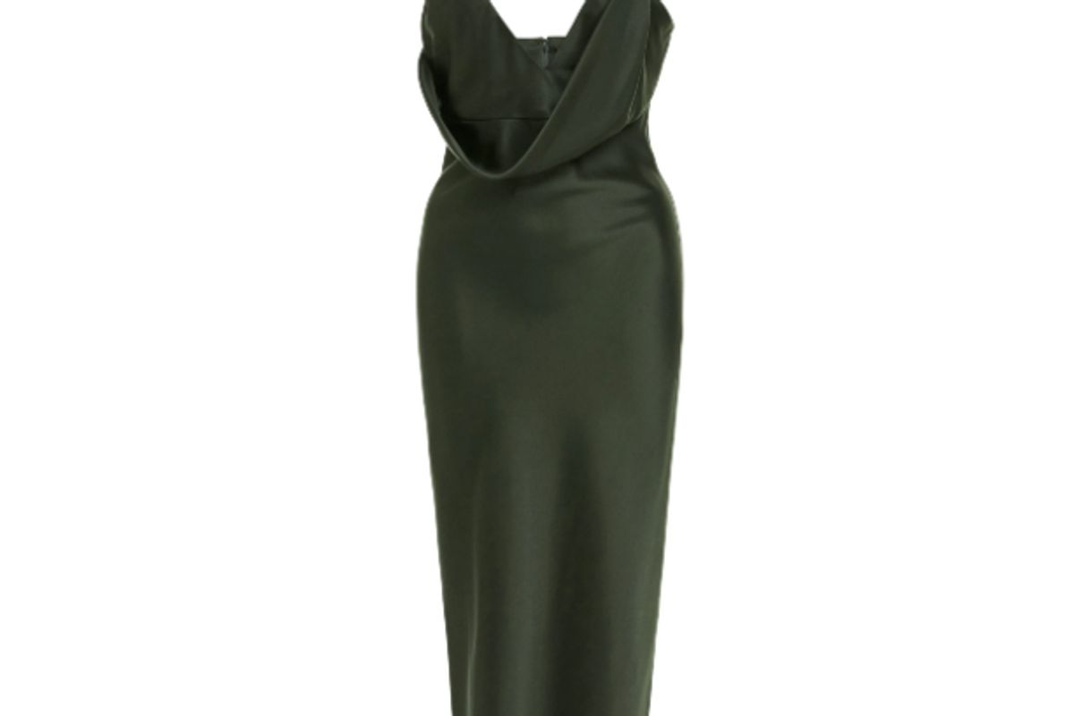 cushine emilia silk satin midi dress