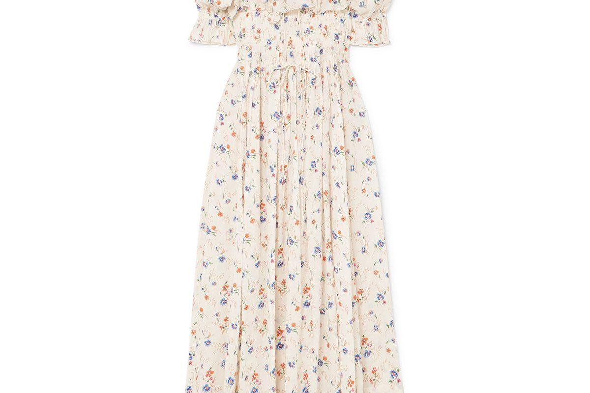 doen sol shirred floral print swiss dot cotton voile maxi dress