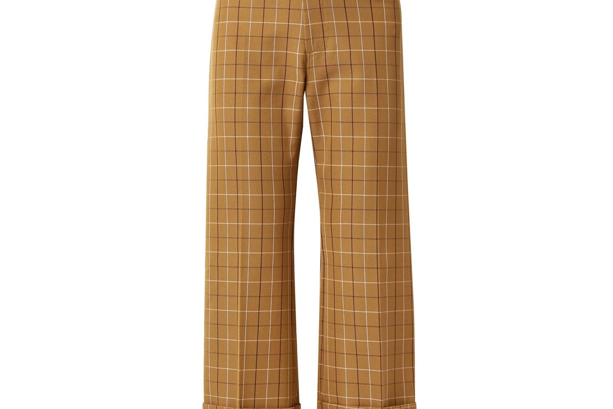 sea poirot cropped checked cotton blend twill straight leg pants
