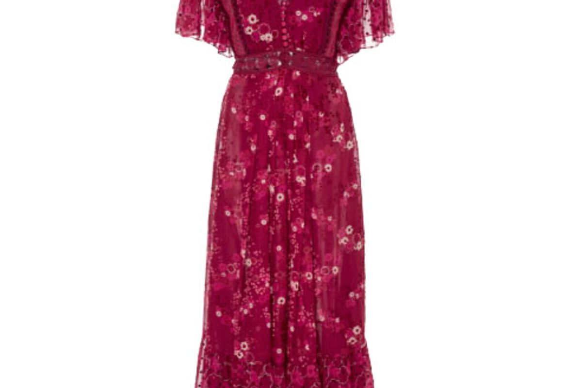 Floral-Print Devore Midi Dress
