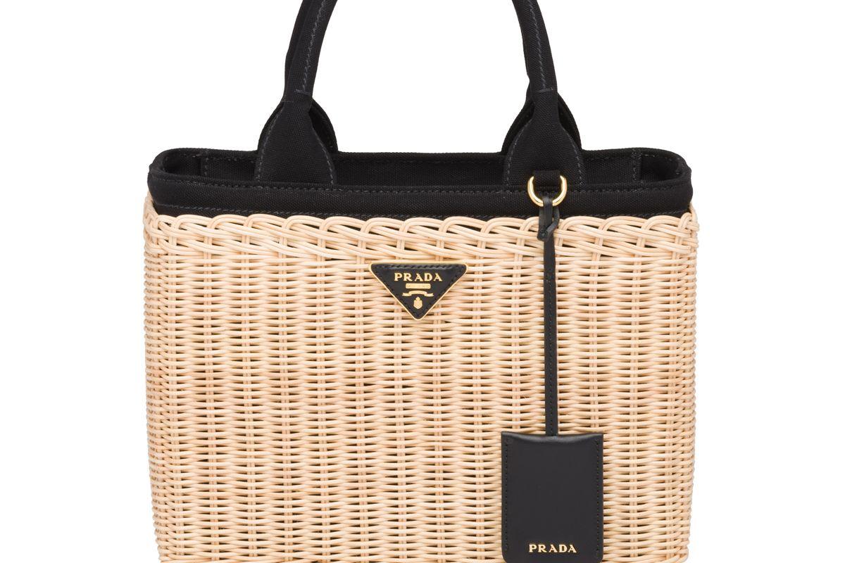 prada wicker and canvas handbag