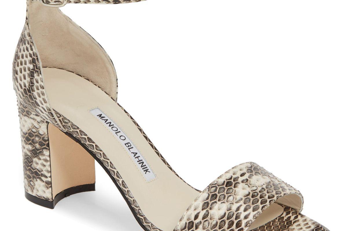 manolo blahnik laurato genuine snakeskin sandal