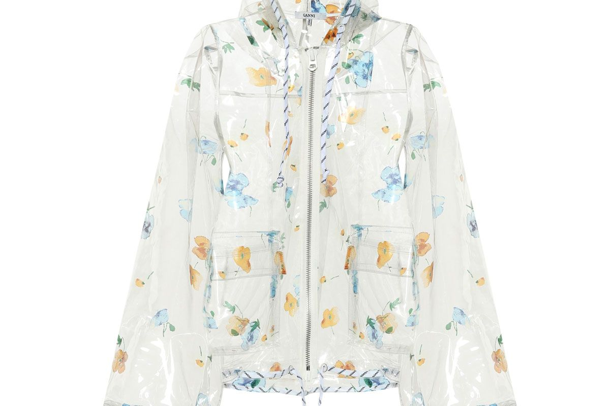 ganni petunia flora lprinted raincoat