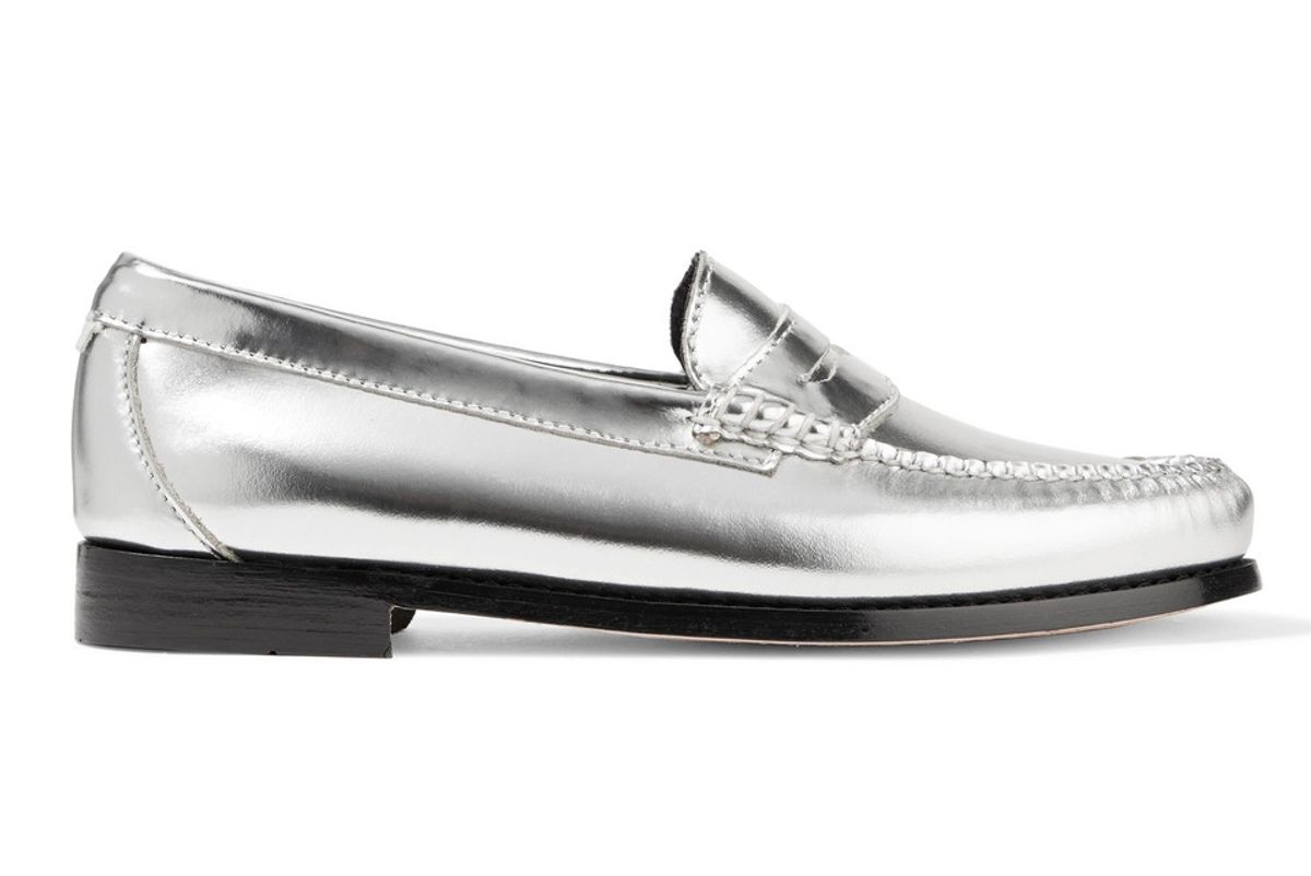 re/done + weejuns the whitney metallic leather loafers
