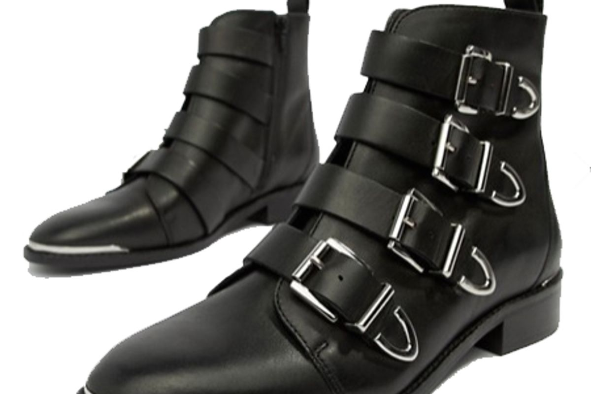 office archive four buckle black leather ankle boots
