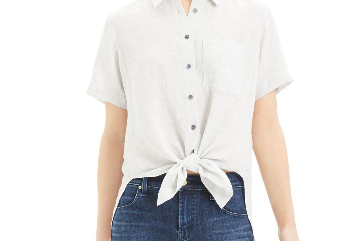theory hekanina tie front shirt
