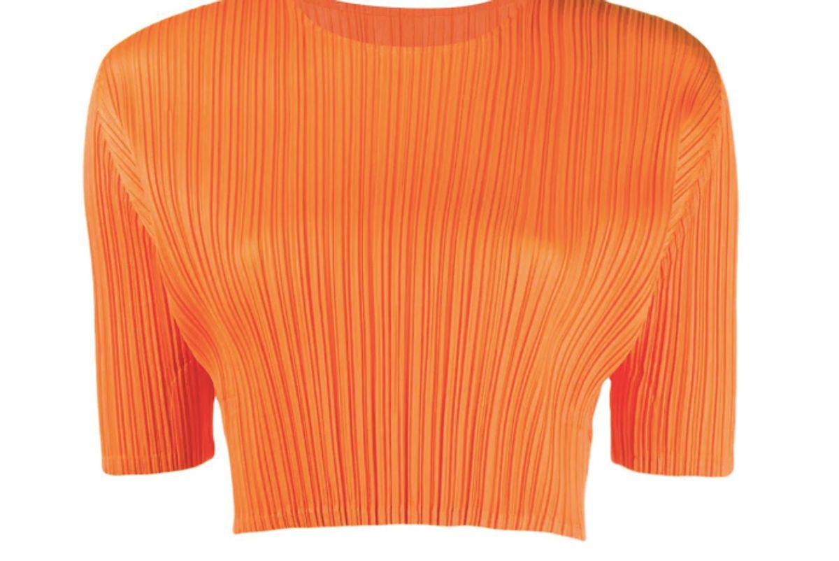 issey miyake cropped plisse top
