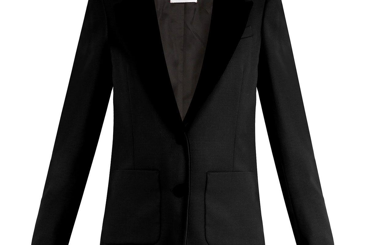 Yorkshire contrast-lapel wool blazer