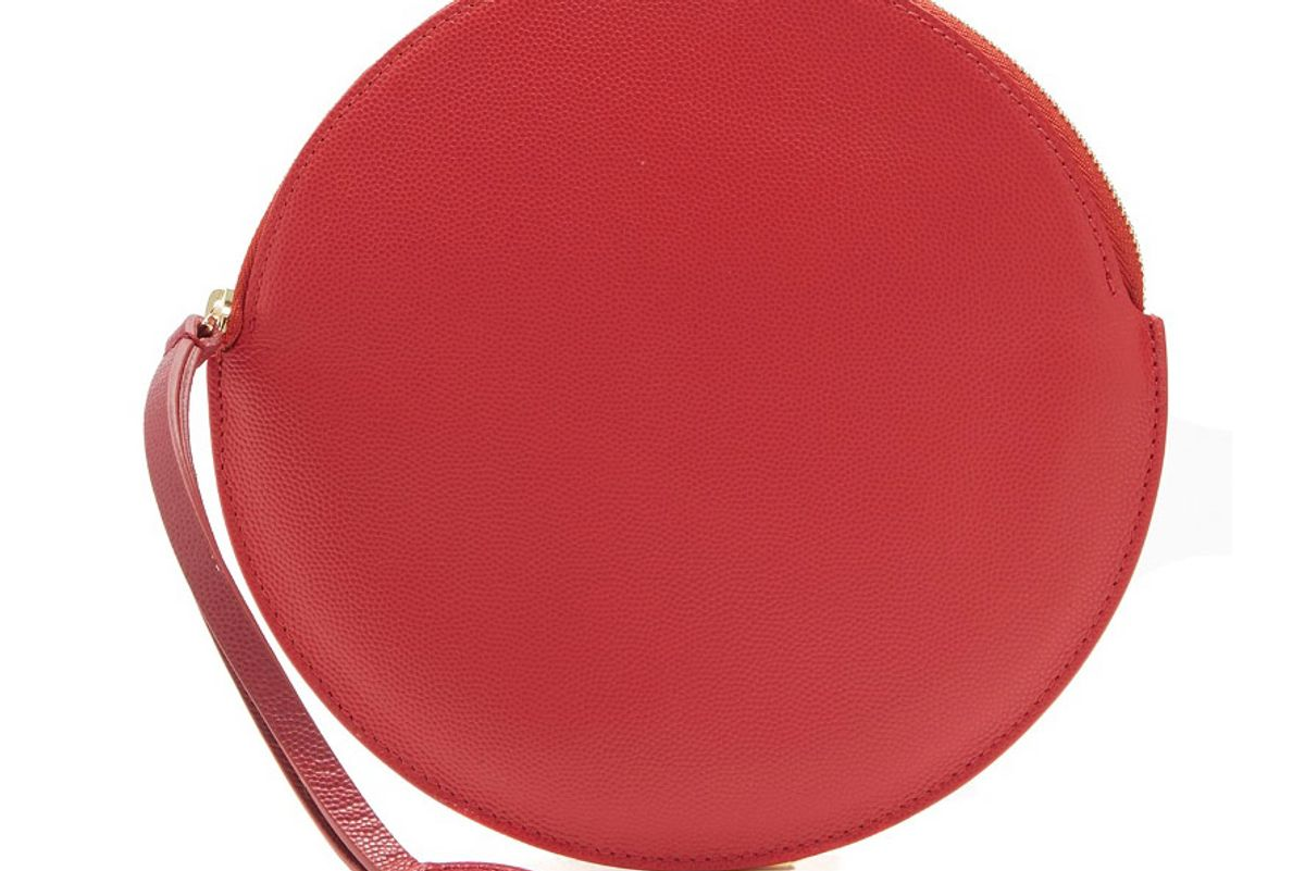 Round Grained-Leather Pouch