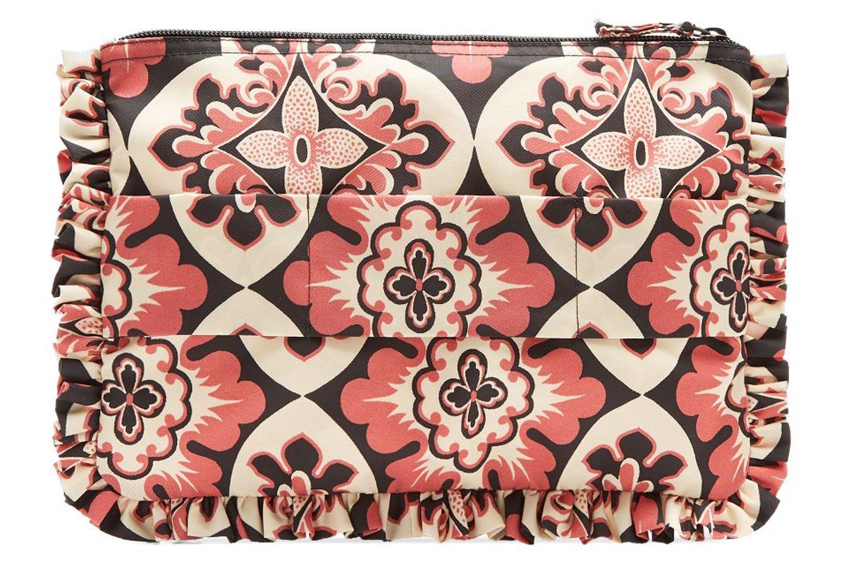 Geometric-Print Ruffle-Trimmed Nylon Pouch