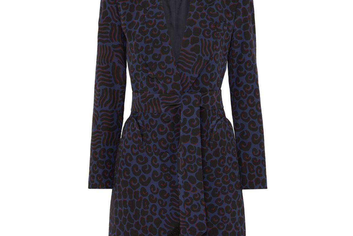 blaze milano vayana sunshine belted fringed leopard print silk crepe blazer