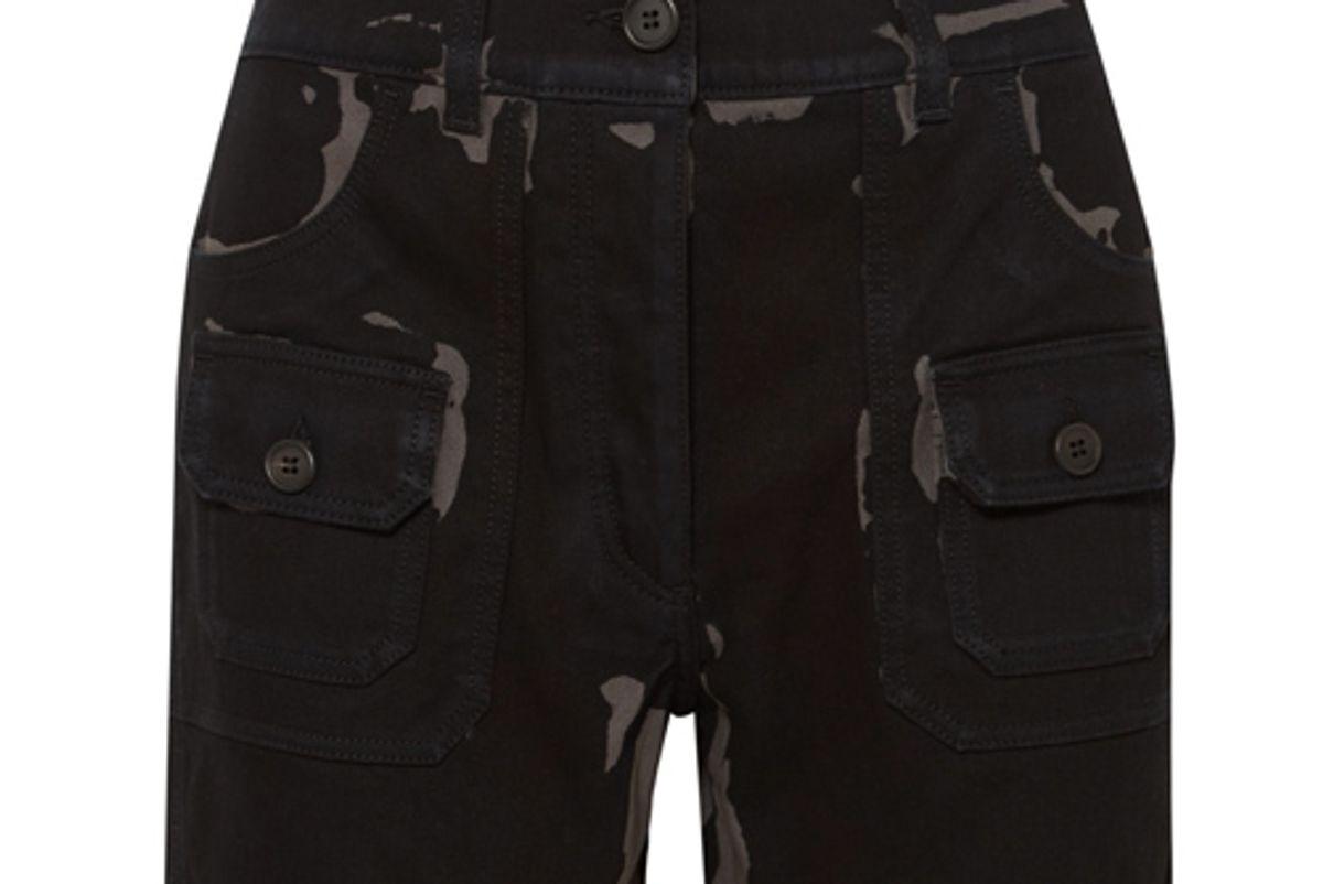 prada printed denim shorts
