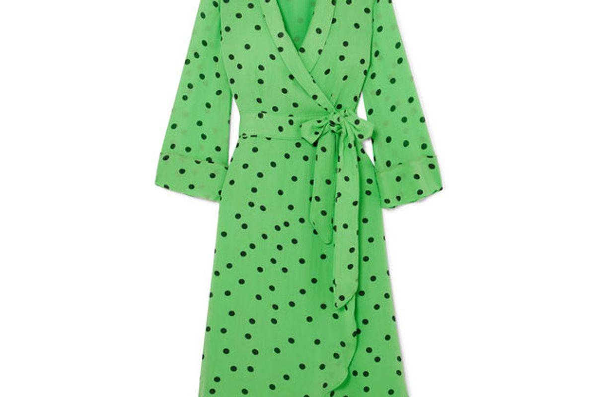ganni polka dot georgette wrap dress