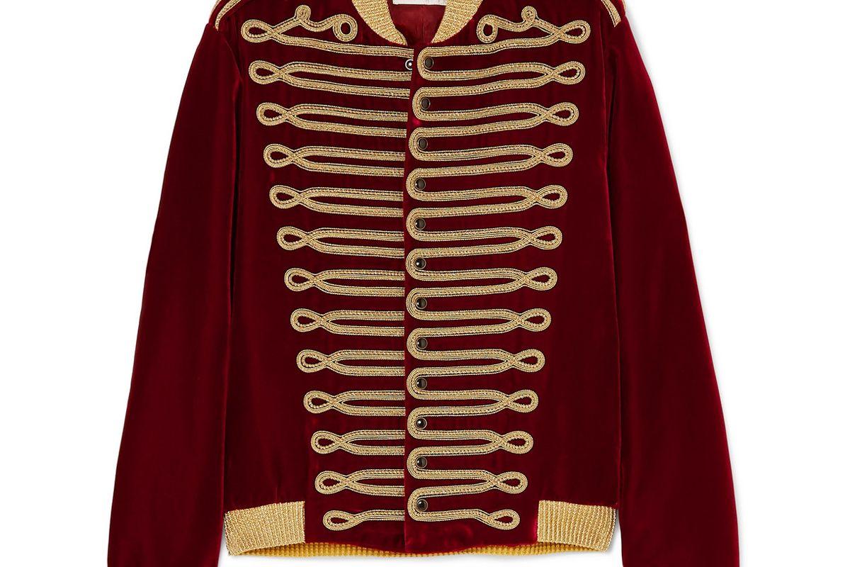 saint laurent metallic braided velvet bomber jacket