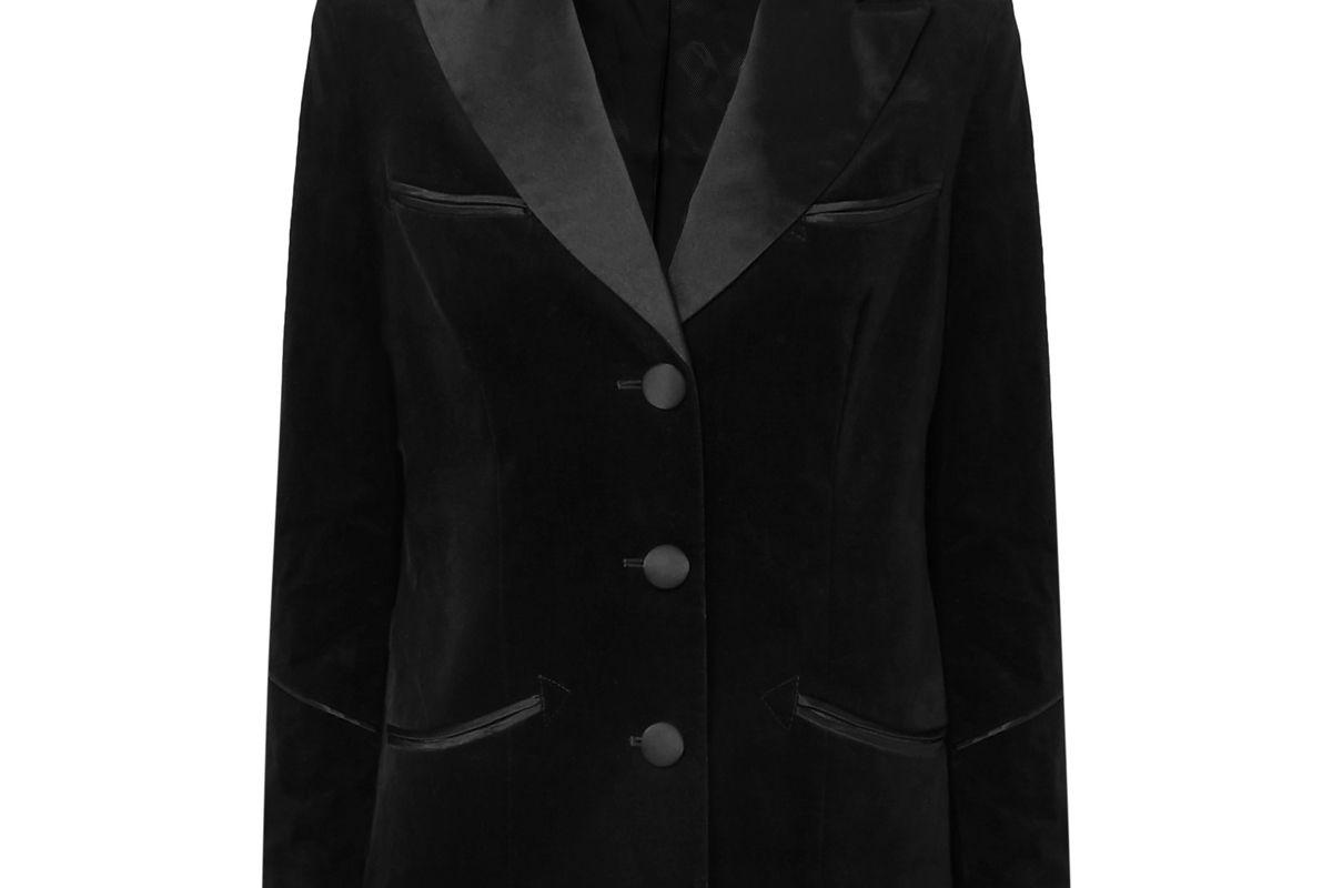 alexachung satin trimmed cotton velvet blazer