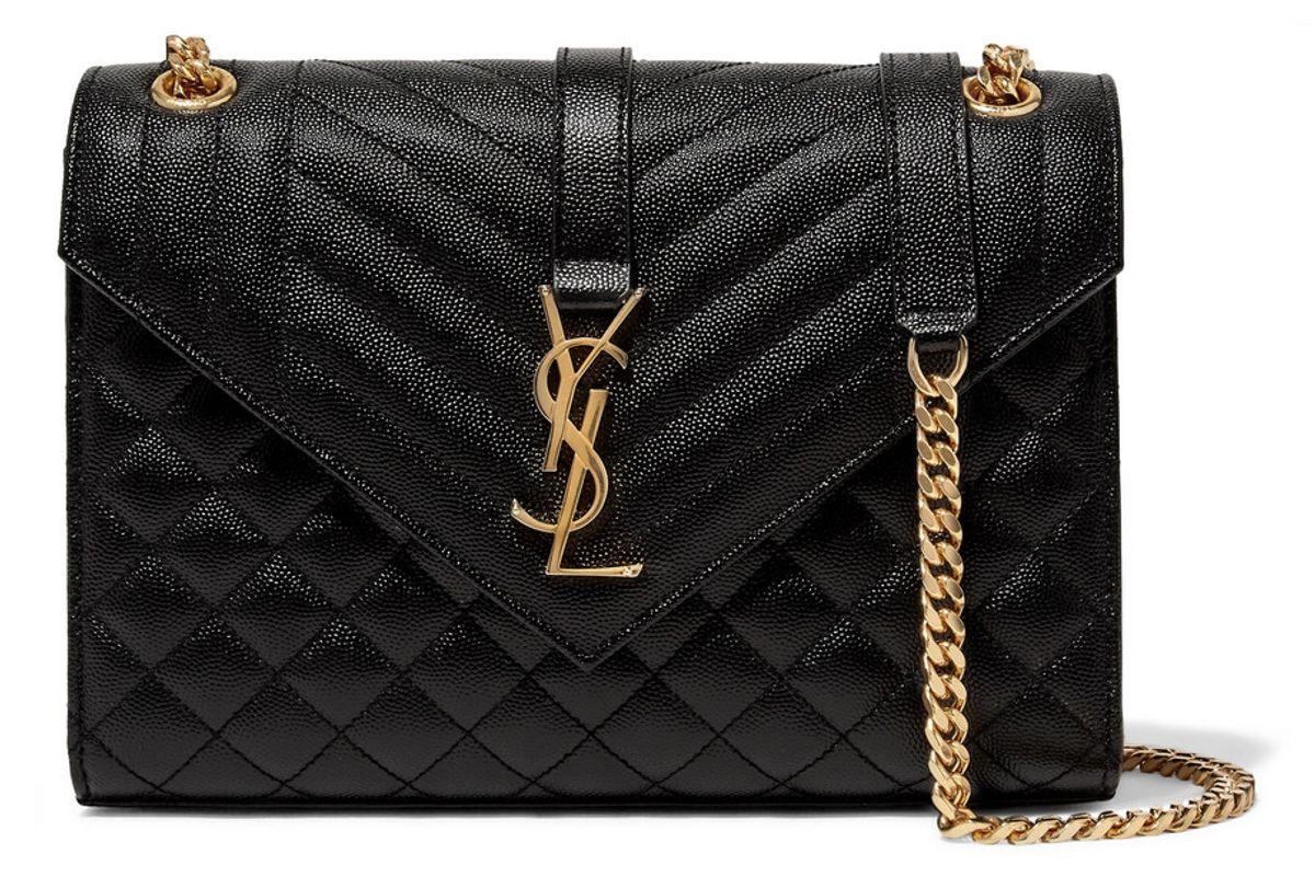 saint laurent enveloped quilted leather shoulder bag
