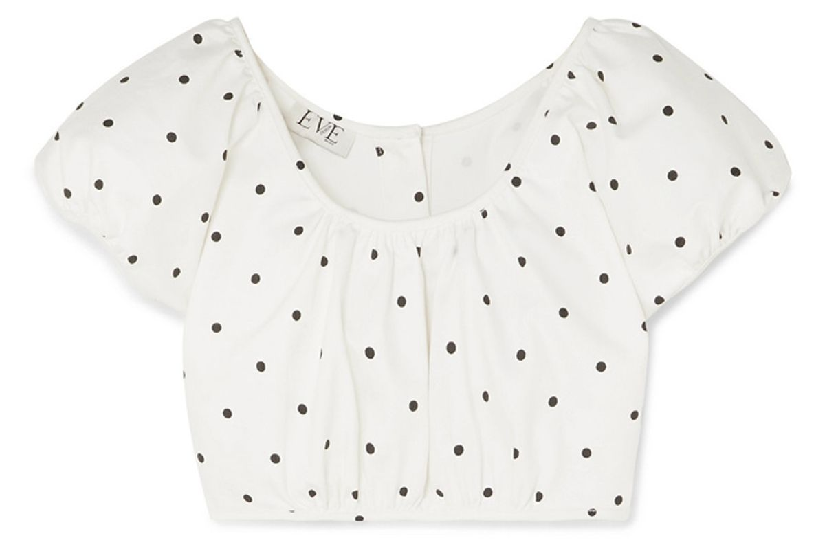 eve denim georgette cropped polka dot cotton blend twill top