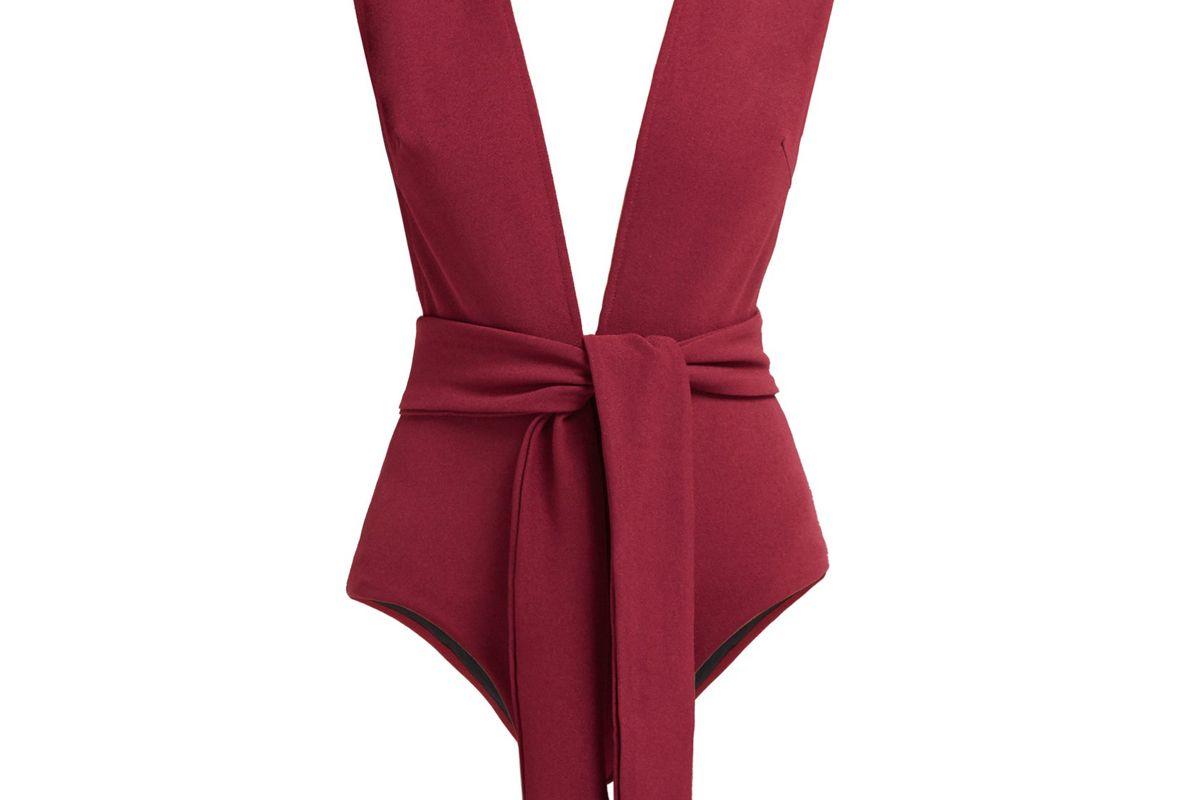 haight plunge neck tie waist swimsuit