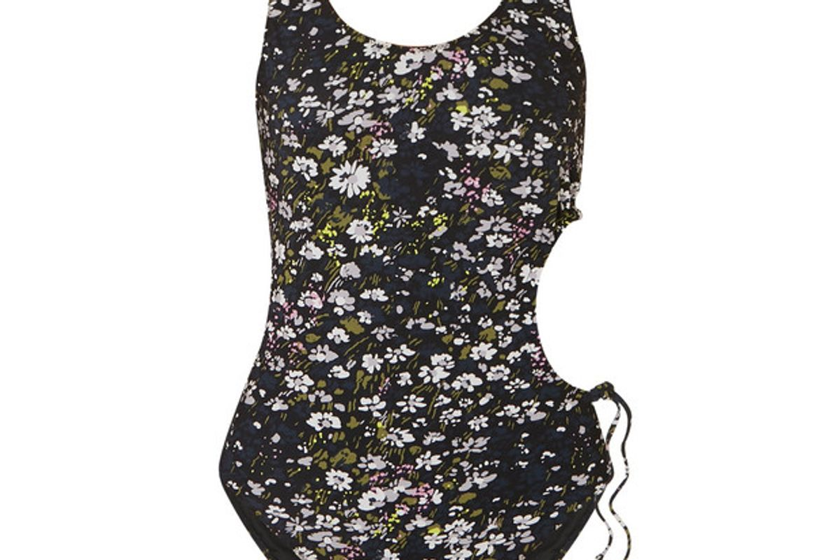 ganni cutout floral print swimsuit