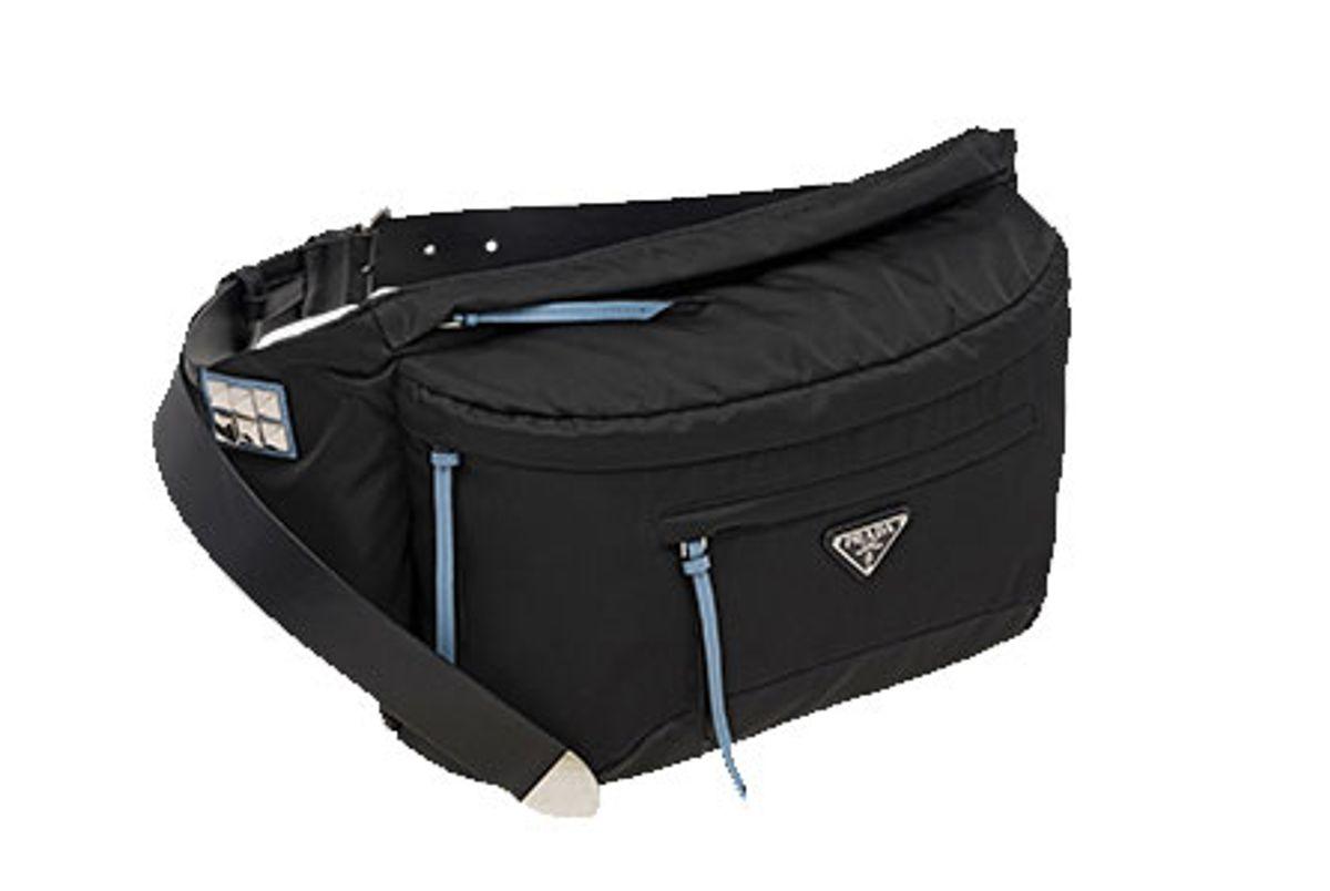 prada black and blue nylon belt bag