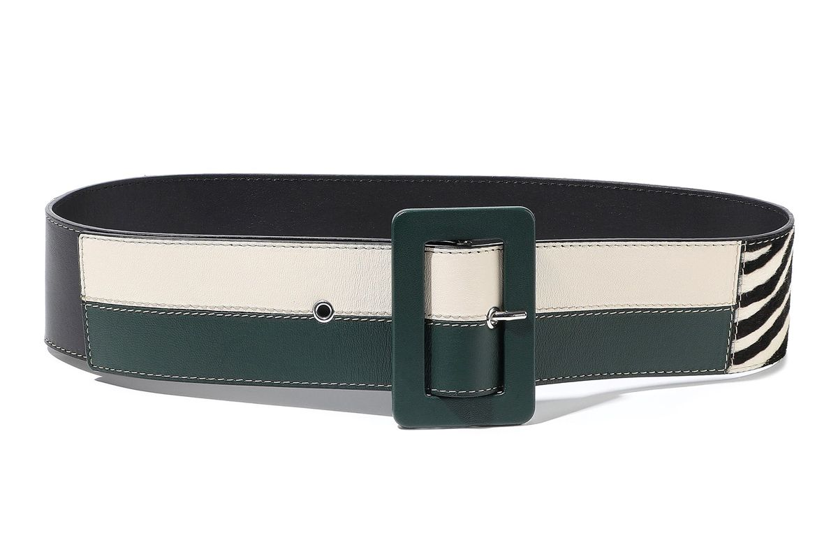 marni zebra print calf hair metallic and matte leather belt