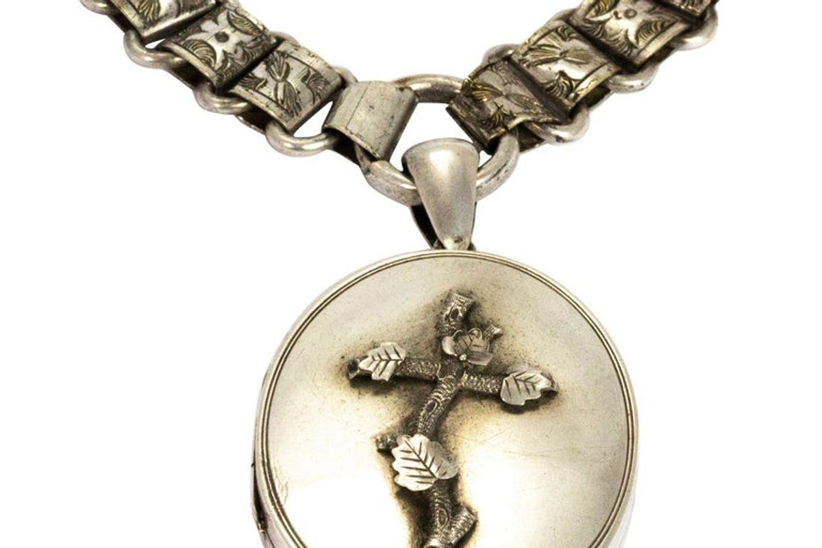 vintage victorian silver locket and collar necklace