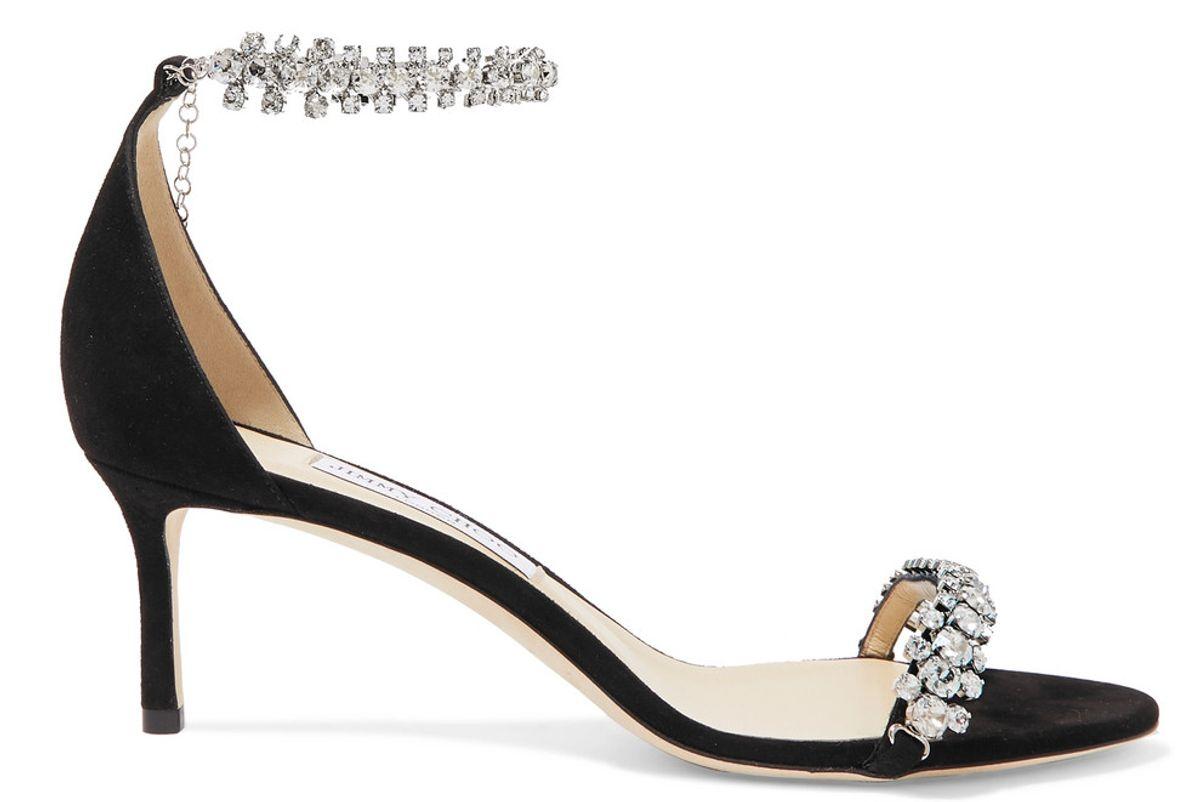 jimmy choo shiloh 60 crystal embellished suede sandals