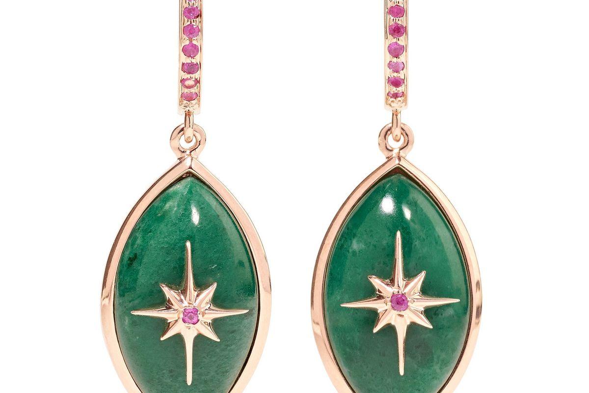 marlo laz mini eye 14-karat rose gold sapphire and malachite earrings