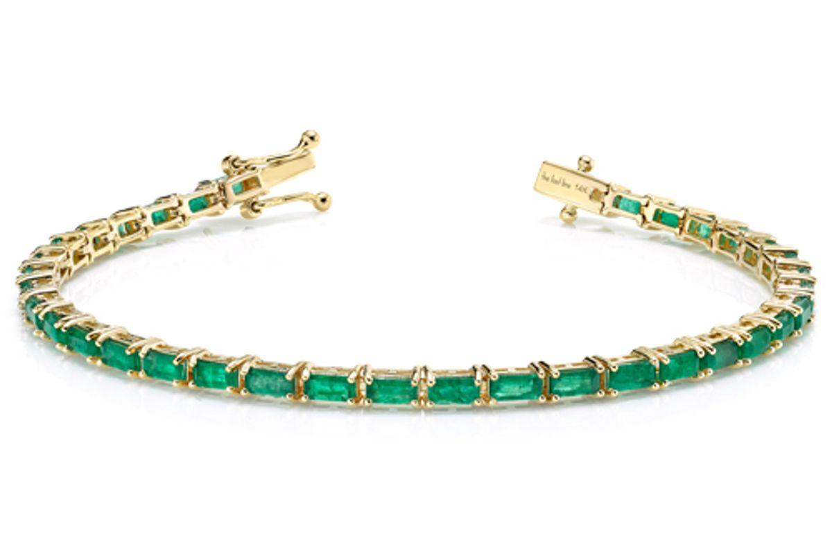 the last line emerald baguette tennis bracelet