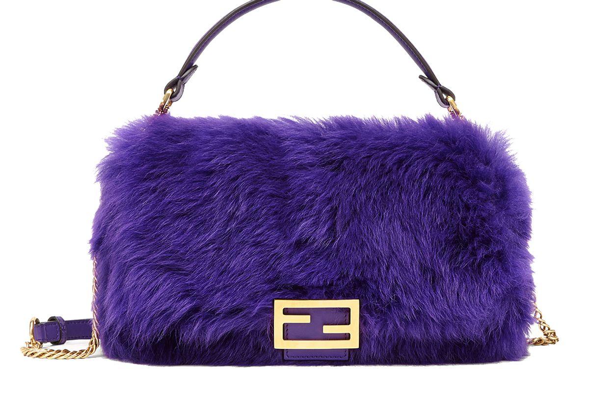 fendi baguette purple sheepskin bag