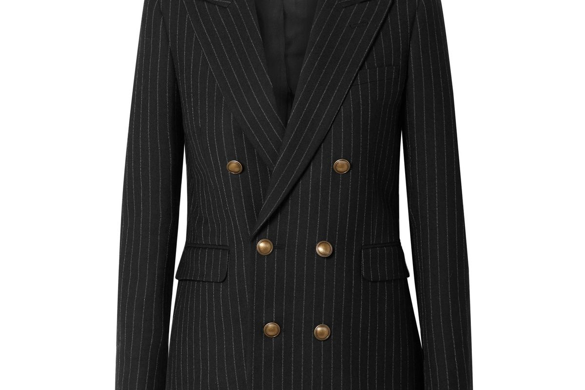 saint laurent double breasted pinstriped wool blazer