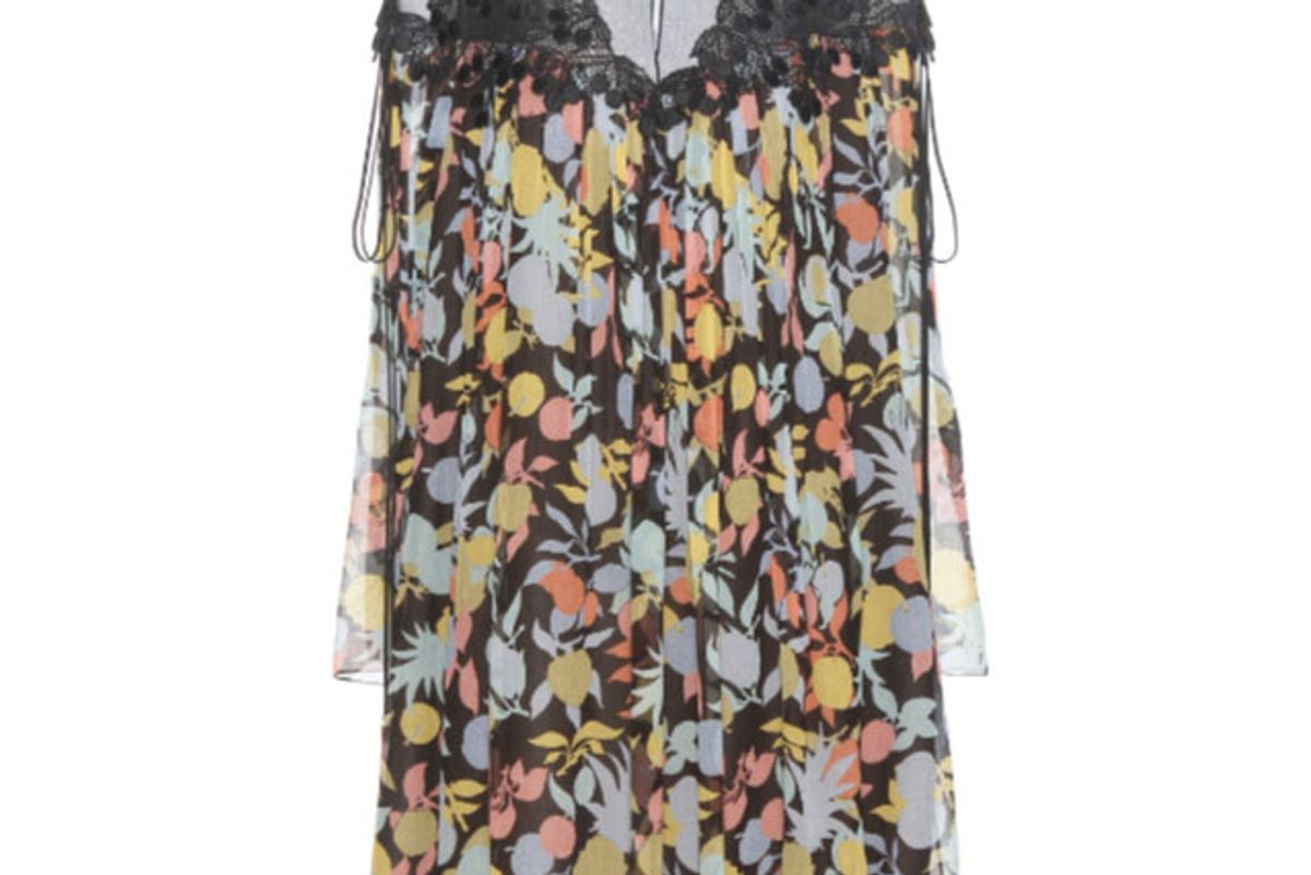 Printed Silk Georgette Dress with Lace