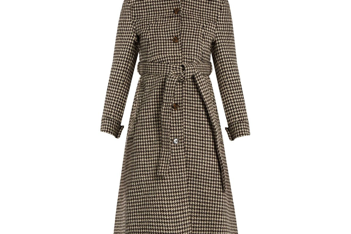Hound's-Tooth Wool Trench Coat