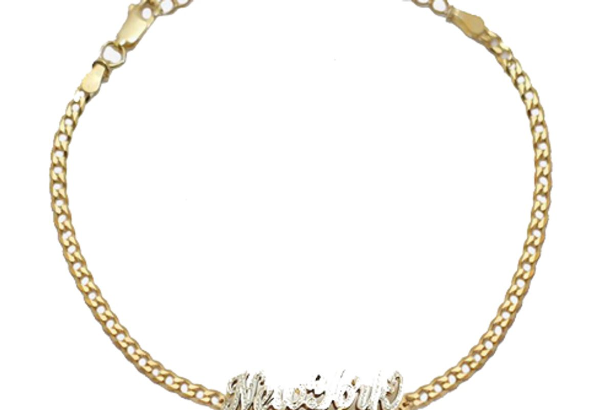 shami classic script double nameplate curb link anklet