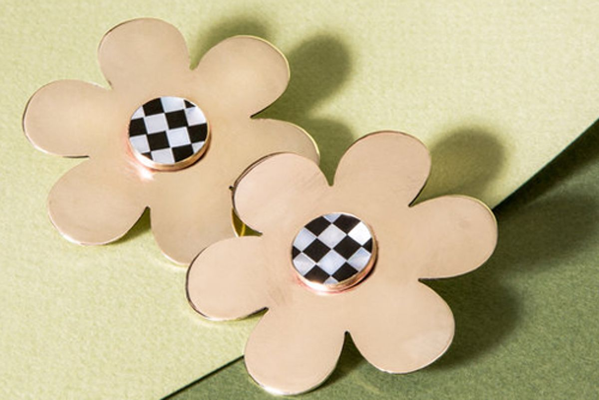 cities in dust checkerboard inlay daisy earrings