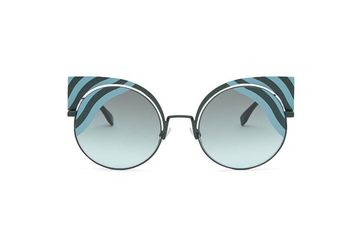 Hypnoshine Fashion Show Green Metal Sunglasses