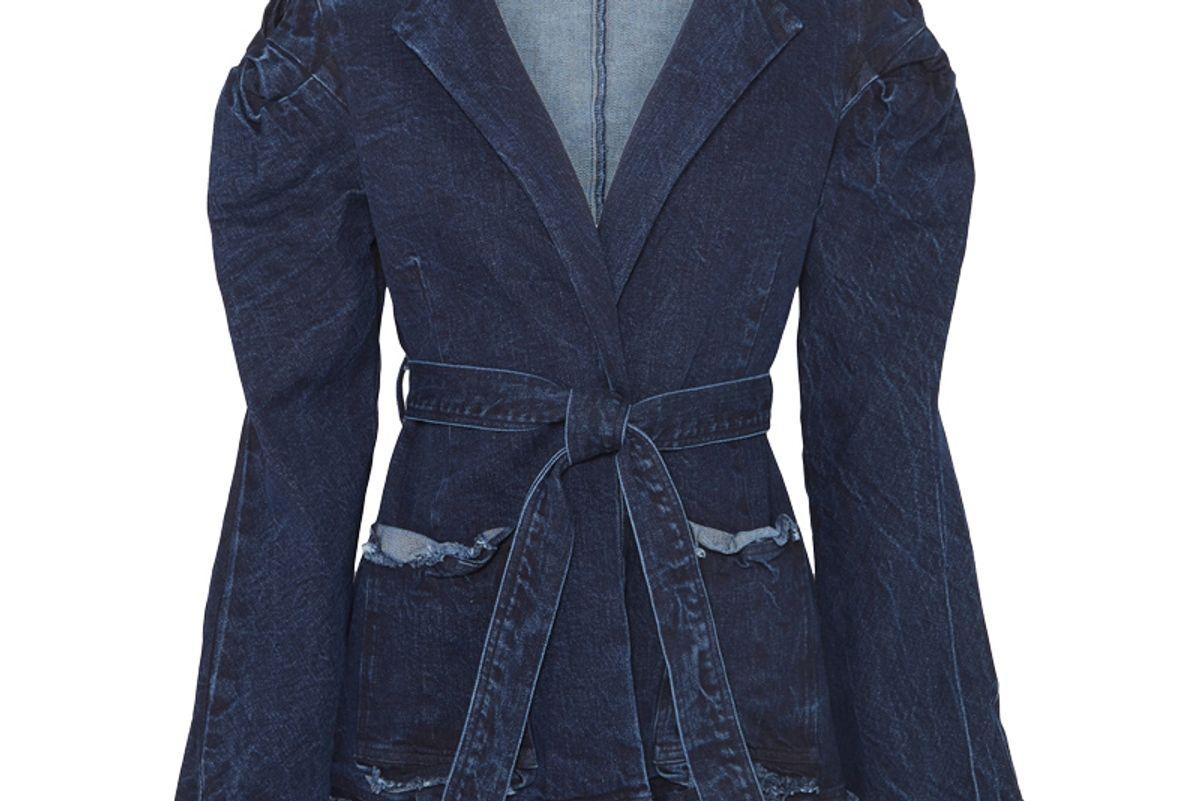 maggie marilyn net sustain george iii knotted frayed denim jacket