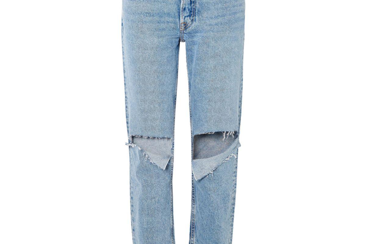 grlfrnd helena distressed mid rise straight leg jeans