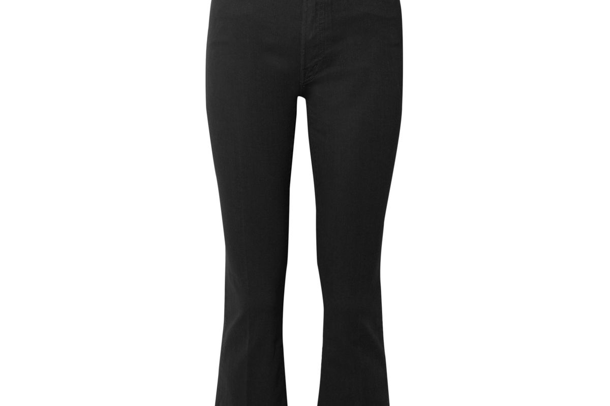 mother the hustler cropped frayed high rise flared jeans