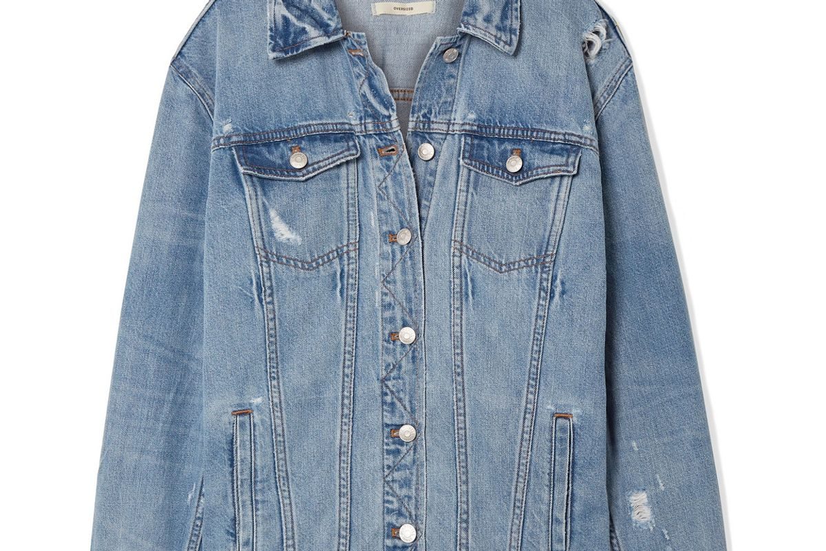 madewell oversized distress denim jacket