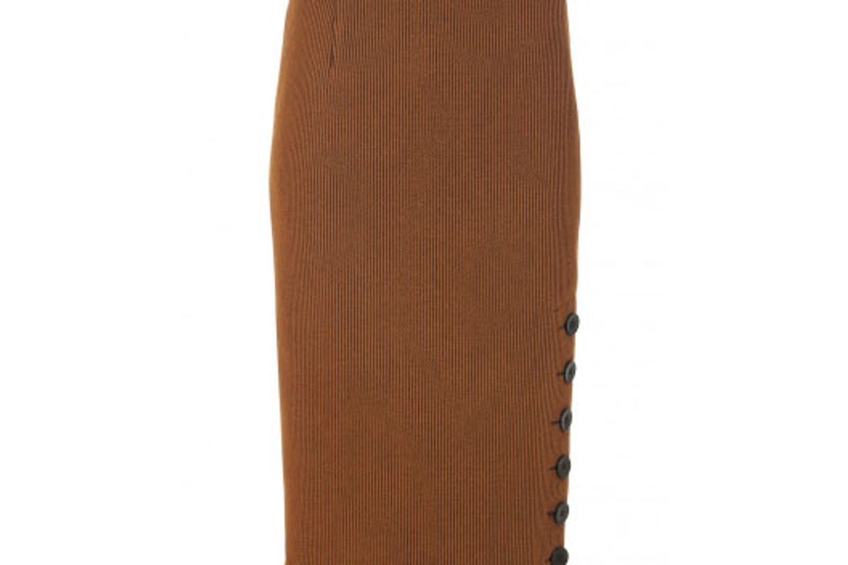 Crinkle Ribbed Knit Pencil Skirt