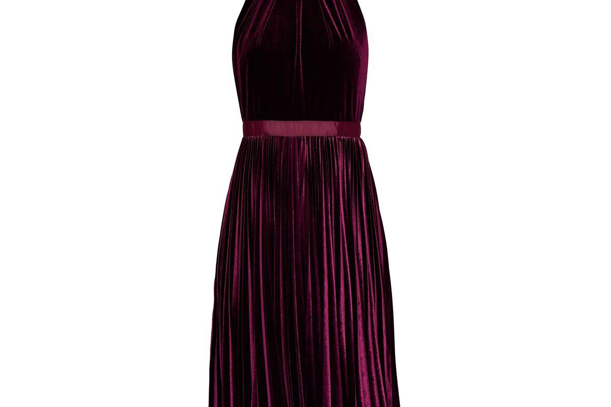 Cornela Pleated Velvet Midi Dress