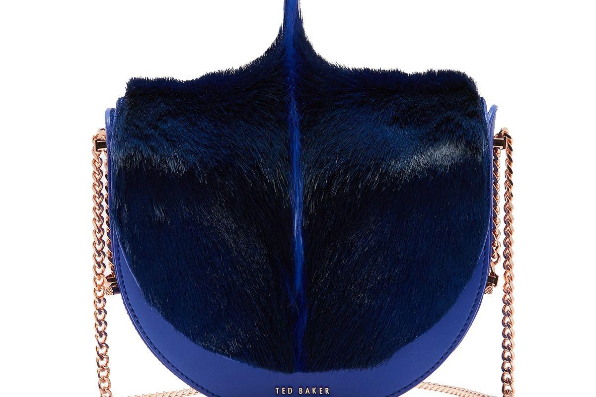 Alisonn Exotic Trim Leather Moon Shaped Bag
